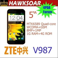 "ZTE V987 Russian language  MT6589 Quad Core Dual Sim Android 4.1 5.0"" 8.0MP ROOT GOOGLEPLAY"