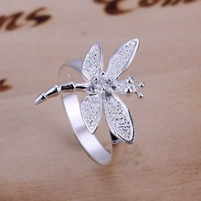 Free Shipping 925 Sterling Silver Jewelry Ring Fine Fashion Silver Plated Dragonfly Women&Men Finger Ring Top Quality SMTR017