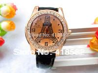 B009-- Fashion Women Dress Watch 12 Colors Pu Leather  Paris Eiffel Tower Ladies Rhinestone Watches free ship