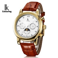 10Style  Original Ik   Automatic  mechanical  Wrist  Calendar  Genuine Leather Gold Big Dial Dress watch for men