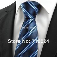 1PC Free Shipping! Dark Blue Striped Silk Mens Neck Ties Classic Jacquard Woven Mens Tie