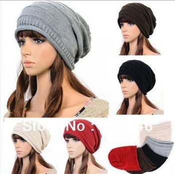 1pcs,Korean version of popular folding cap,Winter hat,Fashionable men and women knitting wool cap,5color,2014 Free shipping