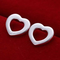 Wholesale 925 Silver Earring,925 Silver Fashion Jewelry Flat Hollow Heart Earrings Free Shipping SMTE109