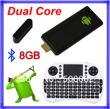 8GB Bluetooth MK809 Android 4.2.2 tv box Google TV Dongle Dual Core Cortex A9 WiFi  RK3066  Mini PC +Rii i8 air mouse keyboard