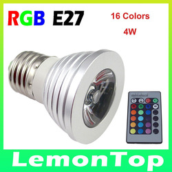 10PCS/lot RGB 16Colors Change Lamp E27 3W LED Light with Remote Control 3 Years Warranty(China (Mainland))