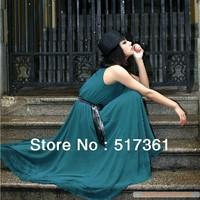 long maxi chiffon black dress with belt dark blue dress summer long dress chiffon maxi dress hot sale new arrivel free shipping