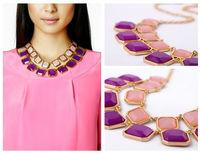 2013 Hot Sale,Fashion Gold Chain Neon Oil-spot Glaze Metal Petals Pendants Choker Necklaces For Women Dress