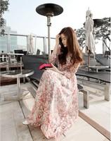Fashion Women Bohemian Dresses Long Sleeves Floral Maxi Dress for Women Blue/Pink Chiffon Floor-length Maxi Dress Summer 2013