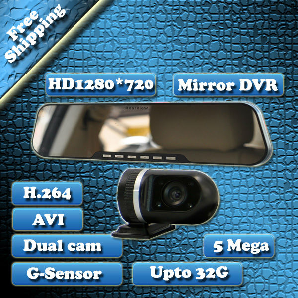 HOT Sell Tail Cam High Quality HD 720p 1280x720 4X Digital zoom lens Rearview Mirror car dvr , 2.7 Inch black box DV300L(China (Mainland))