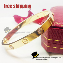 Hot Selling Gold Plating Titanium Steel Love Friendship Screw Bangle Bracelet for lovers with Diamond for Men or Women(China (Mainland))