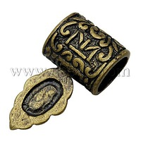 Brass Glue-on Flat Pad Bails,  Antique Bronze Color,  Size: about 13mm wide,  24mm long,  7mm thick,  hole: 5x8mm