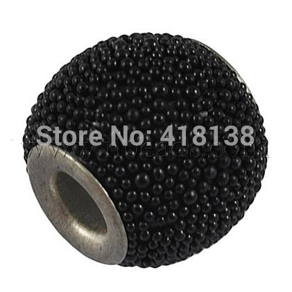 Indonesia Beads, with Iron Core, Barrel, Black, 14mm in diameter, 13mm thick, hole: about 3.3mm(China (Mainland))