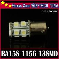 Free shipping 10x Car 1156 BA15S Tail Brake 13 LED 5050 SMD Turn Signal White Light Bulb Lamp