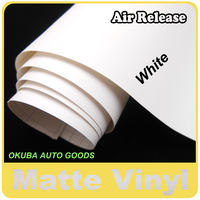 White Matte Vinyl Car Film For Vehicle Wraps with Air Free1.52M*30m/roll FedEx Free Shipping