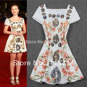New Arrival  2014 Summer  High Street New Fashion Vintage Flower Print Women Short Sleeve Summer Dress