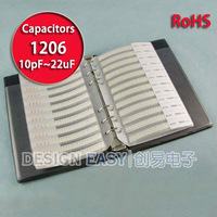 1206 smd capacitor kit 38values x50pcs =1900pcs smt assortment pack box book