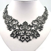 fashion metal exaggerated short necklace vintage patterns black temptation charm choker necklace