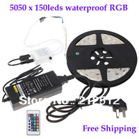 Free Shipping Christmas Decoration 5m 150 x 5050 SMD 36W Led rgb Light Waterproof Led Strip with Power Supply and Remote Control