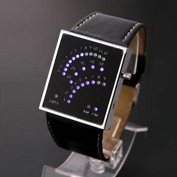 Unisex LED Watch Back Light PU Strap Sports  Casual Style Wristwatches Black Band