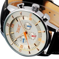 6-Hand Automatic Black Dial Leather Sport Navy Men Mechanical Wrist Vintage watch