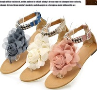 2014 Upgrade qualit Sandals 35-43 for women sandals flat with flower and beading strip fashion shoes 3colors Free shipping 1007