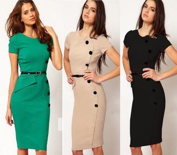 European American Style Elegant Noble Ladies Career O-Neck Button Knee-Length Pencil Bodycon Dress Plus Size XS-XXXL