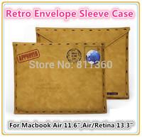 "Retro Fake Sheep Leather Envelope Protective Bag Sleeve Case For Macbook Air 11"" ,Air / Retina 13 "" Wholesale, Free Drop ship."
