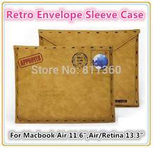"Retro Fake Sheep Leather Envelope Protective Bag Sleeve Case For Macbook Air 11"" ,Air / Retina 13 "" Wholesale, Free Drop ship.(China (Mainland))"