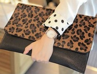 2013 NEW lady evening bag Clutch  star handbags Korean leopard horsehair handbag envelope bags wholesale free shipping BBG0108