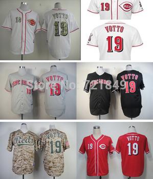 Cheap Cincinnati Reds Jersey #19 Joey Votto baseball jerseys red white gray size M-XXXL wholesale in china