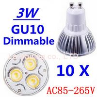 10pcs/lot GU10 3W High power led bulbs Warm White/Cold white AC85-265V Free shipping
