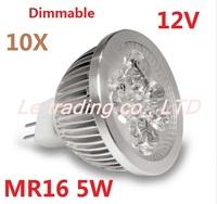 10pcs/lot Dimmable MR16 5X1W 5W Led Lamp Spotlight Led Light Downlight 12V warm/cool /Pure white Free shipping