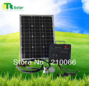 solar led home system30W indoor lighting system 1.5W LED 2pcs mobile solar charger free sunpower USB fast solar home system