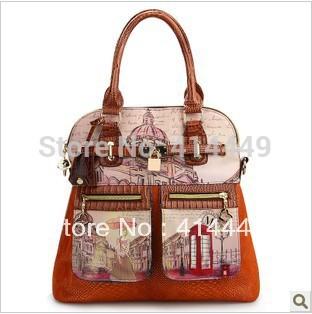 2015 women's handbag vintage oil painting bags british style fashion handbag Leather handbags Hot New Rivet Free Shipping(China (Mainland))