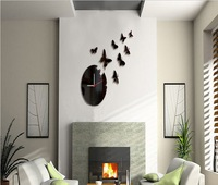 BLUE/YELLOW 8 PCS BUTTERRLIES 3D wall clock Home decoration DIY mirror wall clocks black wall art watch HOT SALE  Z041