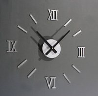 2013 New Metallic-feeling 3D DIY Funny Wall Clock Modern Design Decorative Fashion Roman Numeral Wall Clocks Home Decoration