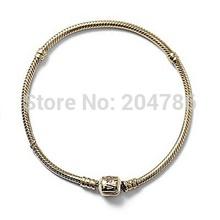 European Sterling Silver jewelry Gold Bracelet bracelets bangles for women Snake Chain Silver charm beads