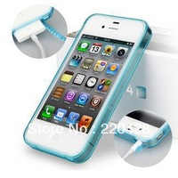 Soft Transparent Rubber TPU Clear Case Cover with Dust Proof Plugs for Iphone 5/5s Bulk Wholesale 50pcs/Lot Free Shipping