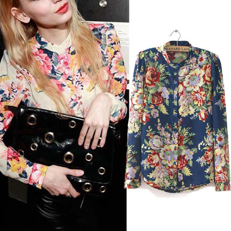 2015 Hot Sale Fashion Vintage Floral Print Pattern Chiffon Blouse Women Long Sleeve Shirt Tops 2 Colors Drop Shipping J6998(China (Mainland))