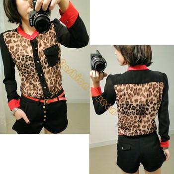 8PCS/LOT 2013 Korean Casual fashion chiffon shirt Leopard Long Sleeve t shirts blouse top shirt B2# 4045