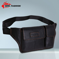 HOT 2015 Vintage Genuine Leather Cowhide Small Sports waist bags for men Tactical Travle belt wallets Coffee Black NO1009