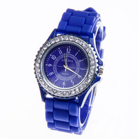 2013 Geneva Watch Gel Crystal Silicone Men Lady Jelly Watch Unisex bling candy Silicone watch Quartz Watches free shipping