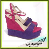 2014 Flock Color Block High-heeled Shoes Platform Wedges Summer Sandals For Woman Open Toe Shoes
