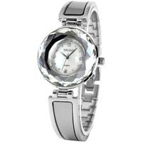 Наручные часы Fashion Square Case Bling Crystal Flower Pattern Genuine Leather Strap Women Ladies Black Quartz Wrist Dress Watch / WK1139