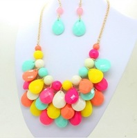 Fashion  Teardrop Candy  Color Bubble  Stone Bib Gold Plated  Statement  Chunky Choker Necklace Earring Sets