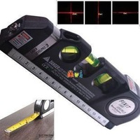 Free shipping ! The genuine laser level wire Infrared Cross Line Laser Level Tape Measure 2.5 meter aluminum seat