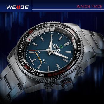2014 WEIDE brand New Mens Dual Time Dial LED Digital Quartz Alarm white Military Sports fashion men Wrist Watch, free shipping