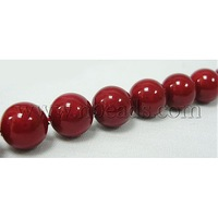Shell Pearl Beads Strands,  Grade A,  Polished,  Dyed,  Red,  Round,  about 8mm in diameter,  hole: about 0.8mm