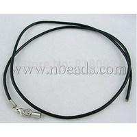 "Imitation Leather Necklace Cord,  Platinum,  Black,  2mm in diameter,  18"""