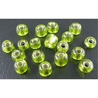 Stock Deals 6/0 Glass Seed Beads,  Silver Lined Round Hole,  Lt. Green,  about 4mm in diameter,  hole: 1mm